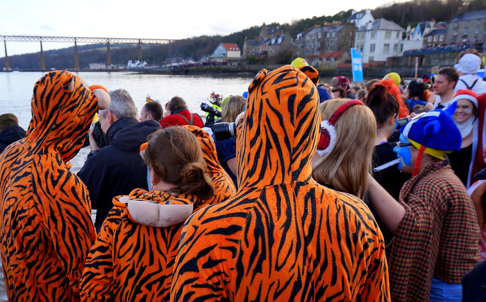 Tiger outfits at the Loony Dook in Edinburgh.