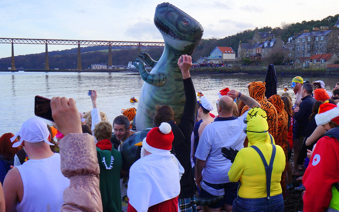 Loony Dookers and a dinosaur ready to go into the Firth of Forth.