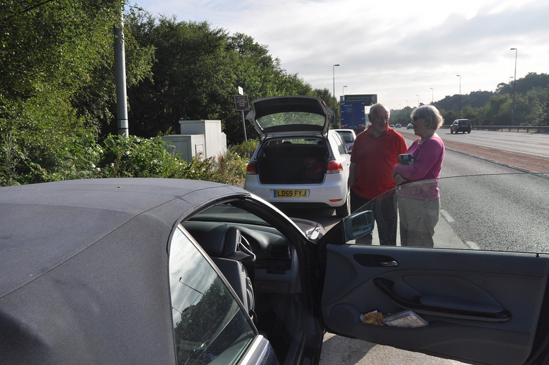Ian is 'handed over' to Andy's tender loving care by Sheila in a layby on the A3