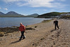 Andy & Russ Wison set out to walk along the beach to 'the burn' with Bonahaven, Islay and the Paps of Jura in the background. Real memories, these!