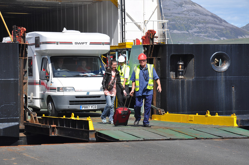 Helping with luggage is all part of Macbrayne's service at Port Askaig, Islay