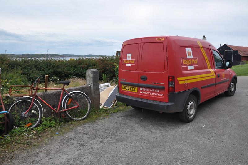 Iona mail van with bicycle backup