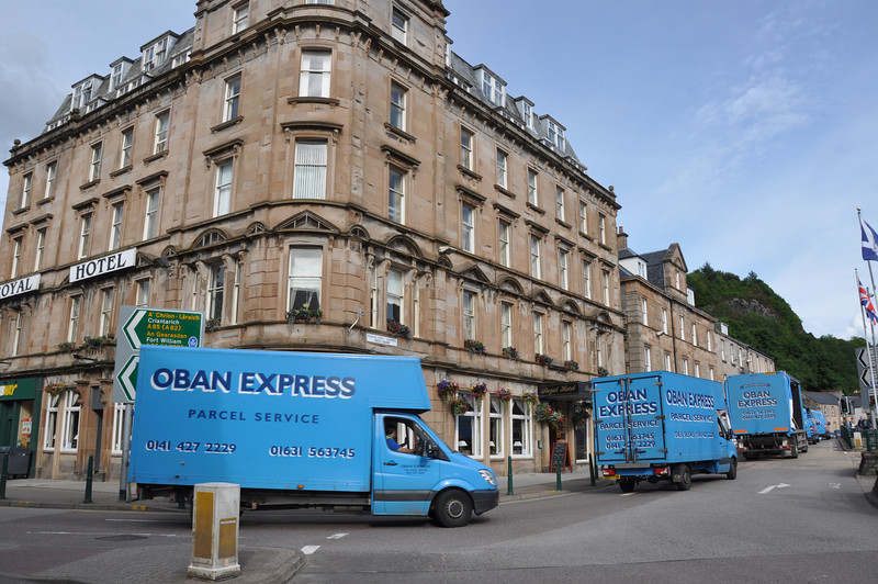 Our hotel, the Royal, in Oban. The fleet of Oban Express vans were celebrating the forthcoming wedding of one of their workers