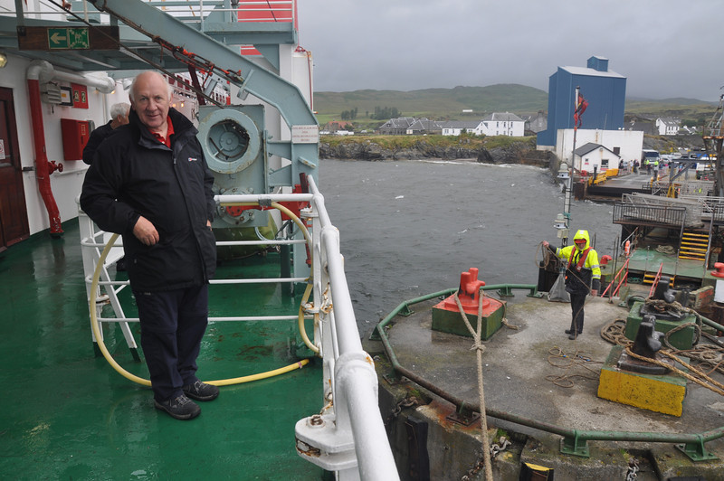 Arriving at Port Ellen in a string westerly required the ferry to approach sideways on and then be swung around the outer pier bollard. The crew made it all look very easy