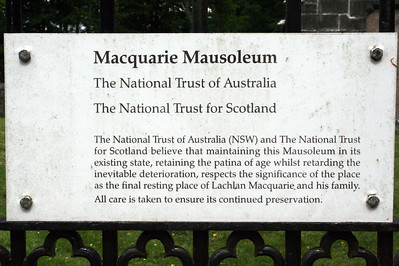 20100608 - 03 Notice on gate at MacQuarie Mausoleum - IMG_2710