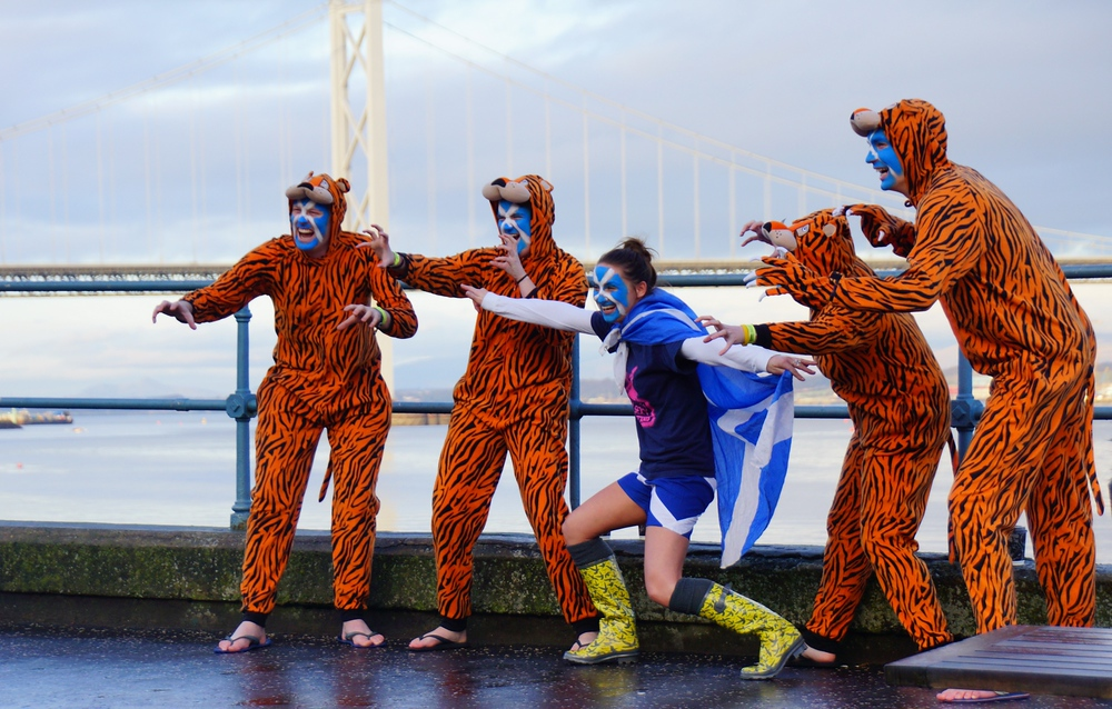 Loony Dook participants strike a pose prior to the event commencing.