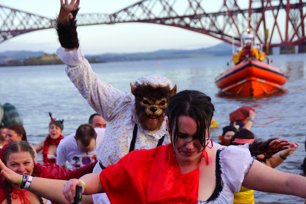 Little Red Riding Hood does her best to escape from the Big Bad Wolf during the madness of the Loony Dook.