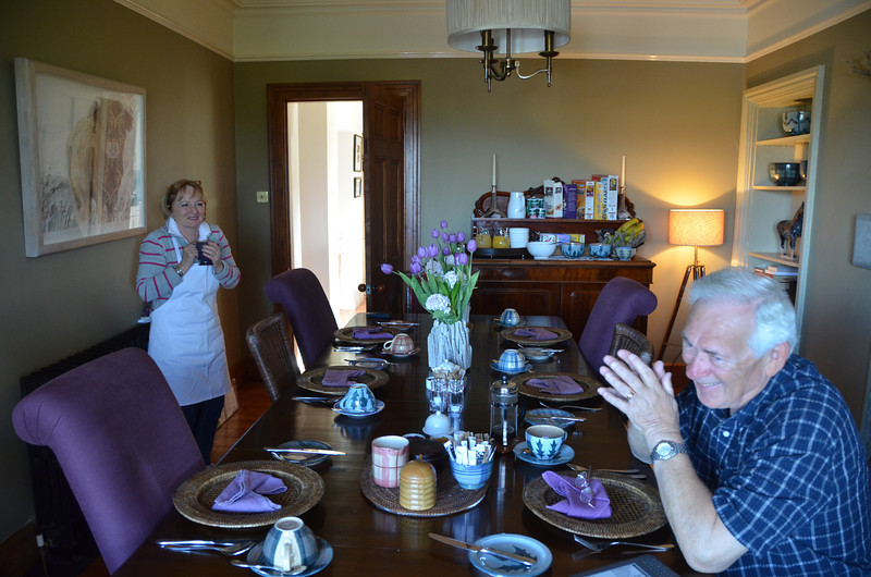 Dornoch. Evelyn, owner of Kyleview House B&B, and Russ have both been up since the crack of dawn