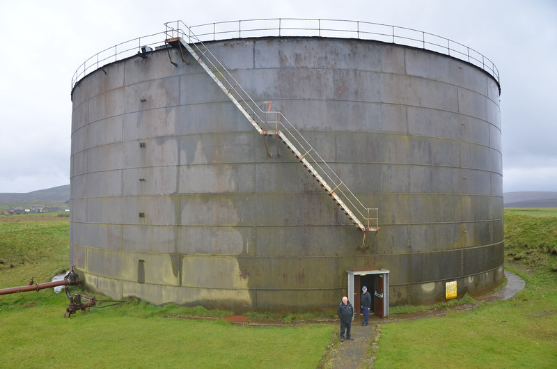 Lyness. We're about to enter and old, and thankfully empty, oil tank, the most amazing location for a museum and movie show