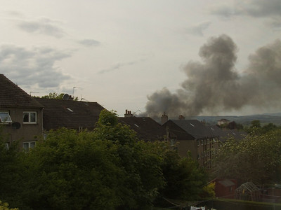 The second fire that destroyed the mill on 31st May, as seen from my upstairs window. The blaze was so fierce it caused the floors in the building to collapse in on themselves, leaving the structure dangerous.