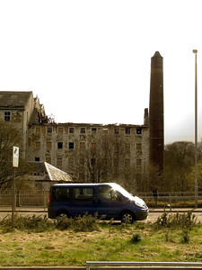 The western side of the mill after the fire in April that brought the roof down. At this stage the mill was still in a good condition and had things been done properly, and the site secured, then it would not have been set on fire again.