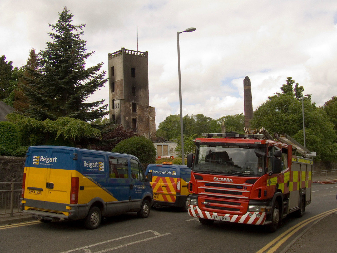 Fire crews and demolition teams in attendance on 2nd June. The fire crew were needed as they were still having to damp down the ruins that were still smouldering, with the demolition teams bringing the remaining unsafe structures down, a sad end to such a fine old building.