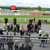 Setting up the betting stands for the day's races at Carlisle