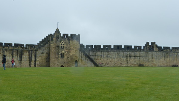 Grass courtyard of Alnwick - where many of the outdoor castle scenes of Harry Potter were filmed