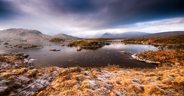 Frozen lake in the Highlands of Scotland