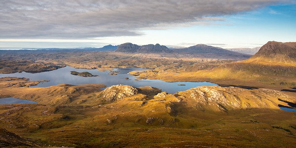 Suilven mountain and Inverpolly Forest from Stac Pollaidh