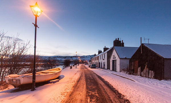 Helmsdale Harbour Street in the snow