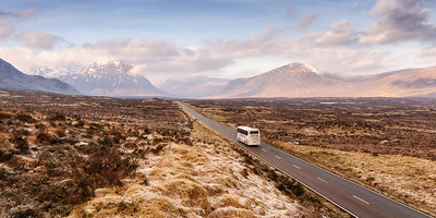 Tourist coach in the Highlands of Scotland