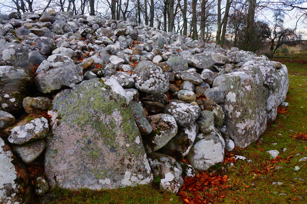 A close-up shot of Clava Carins stone formations