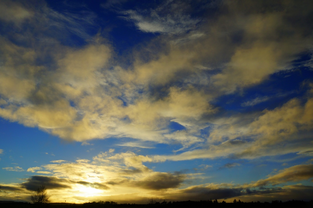 Dramatic skyline at Culloden Moor during sunset