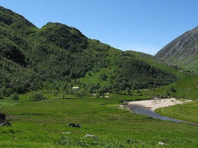 Looking back to Steall Hut