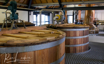 Isle of Arran, Lochranza Distillery: The wort is pumped into washbacks, where yeast is added and fermentation begins.
