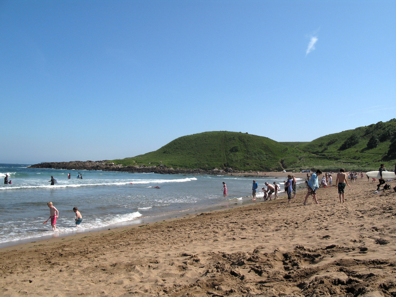 The beach was very busy