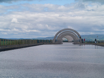 At the top of the Falkirk Wheel