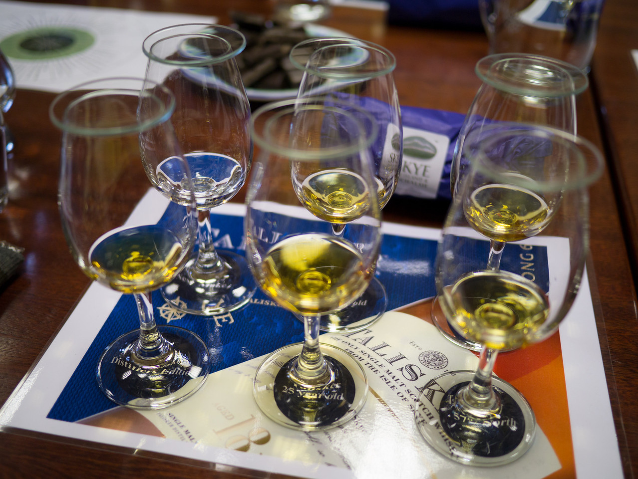 The 6 Whiskeys we got to try.