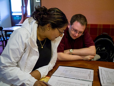 Chris and Becca looking at the whisky menu
