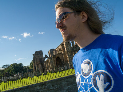 Olly infront of Elgin cathedral