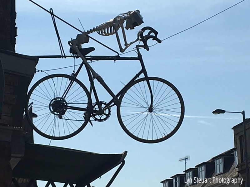 Above a sports shop in Callander.  Looks like a long distance biker to me!!