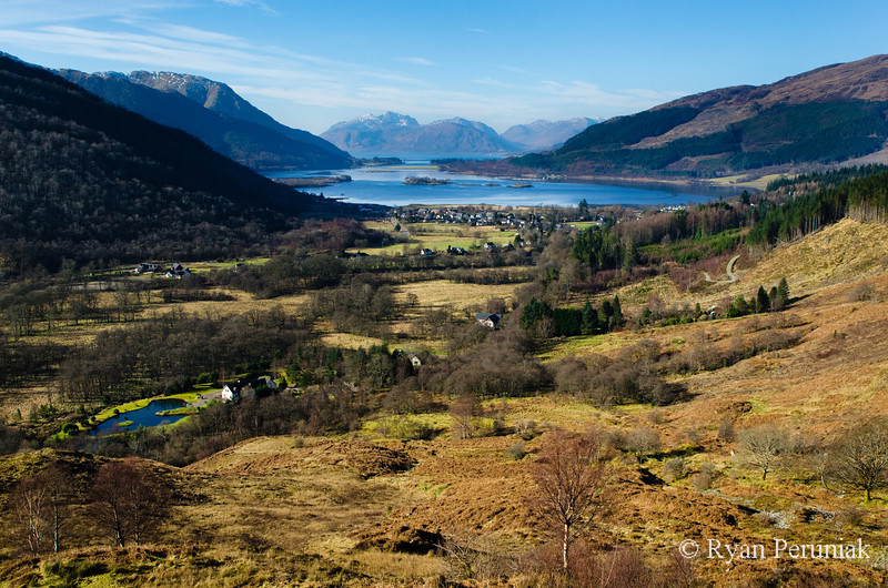 Photo:  The village of Glencoe and the ocean beyond beg for a photo on my way up the hillside.