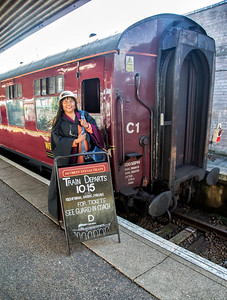 Dale boarding Hogwarts Train of the famed Harriet Potter movie. (Port William, Scotland)