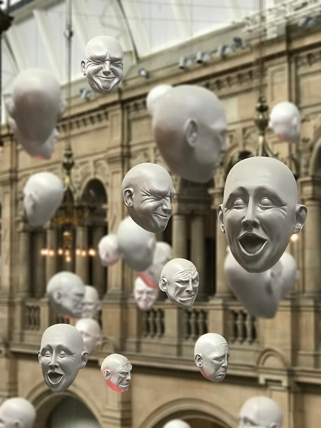 """Floating Heads"" by Sophie Cave from the Kelvingrove Museum. 2017."