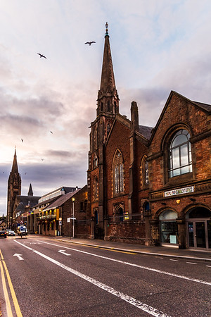 The Junction Church Inverness and Free Church of Scotland in Inverness at sunset.