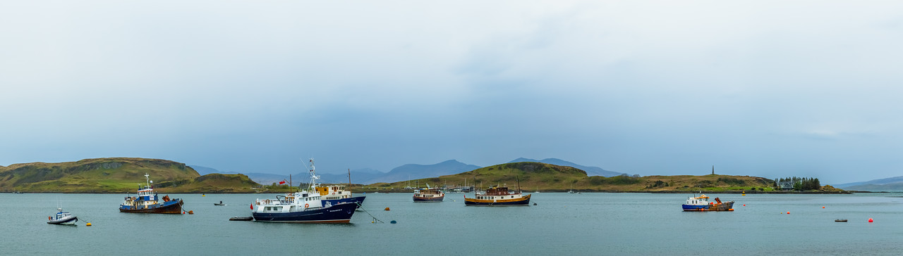 Boats in a bay in Scotland.