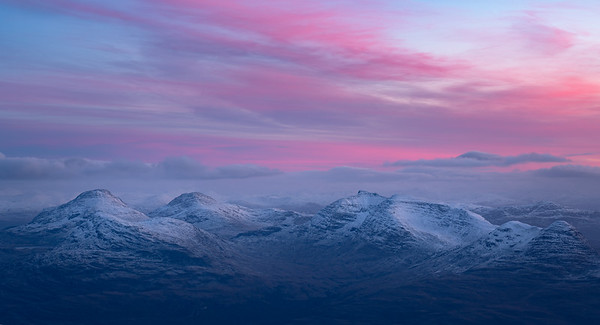 Sunset over Ben Damph from Ben Alligin