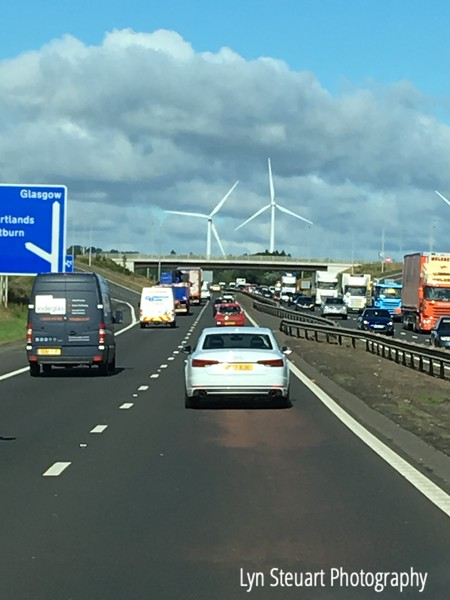 Driving into Glasgow & Wind Turbines