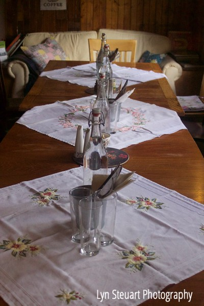 Table waiting for our arrival for afternoon tea on the road in the Trossachs.