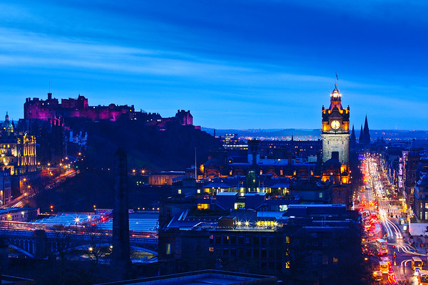 Edinburgh Castle and Princes Street at twillight