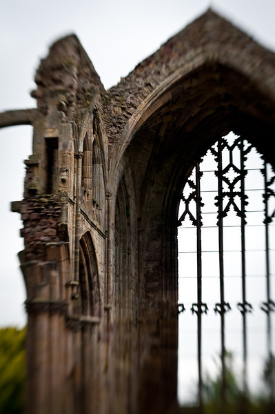 Melrose Abbey, a magnificent ruin from the 12th Century, said to contain the heart of Robert (the) Bruce who died in 1329.