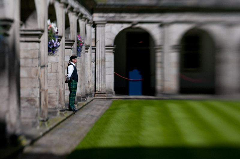 A cooperative guard at Holyroodhouse Palace.