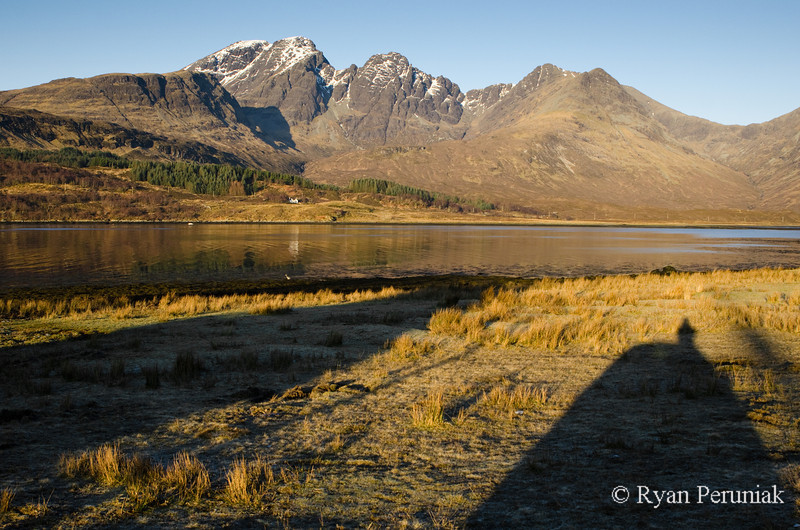 Photo: Shadow of a house at sunrise on my first morning on Skye.