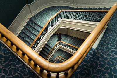 The grand staircase at The Balmoral Hotel in Edinburgh.