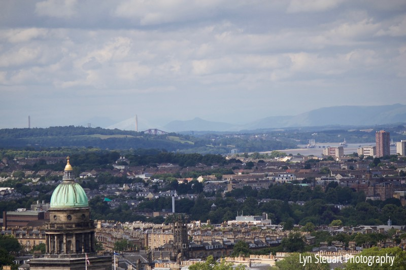 View from Edinburgh Castle overlooking the bridge over the Firth of Forth