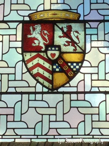 Stained glass window coat of arms  (one of hundreds) at Stirling Castle