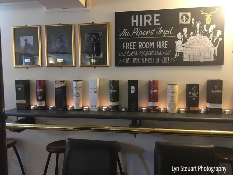 A variety of whisky on display at the Pipers' Tryst Hotel