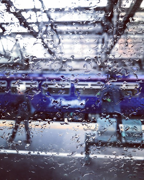 Rain on Window at Glasgow Central Station. 2017.