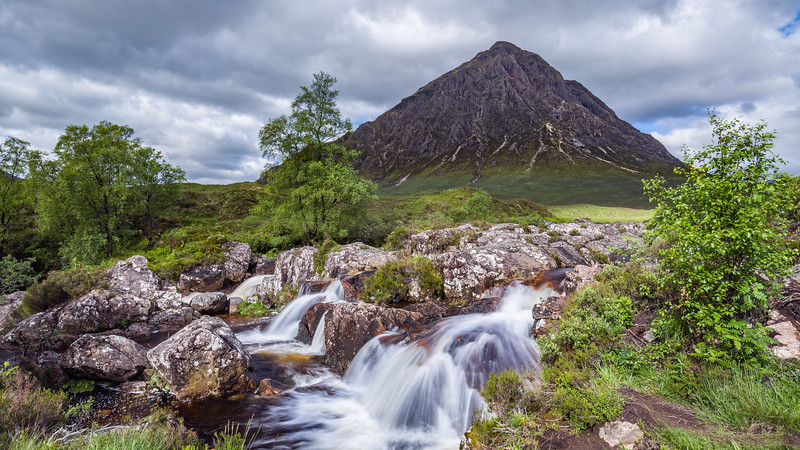 Waterfall  with the Buachaille Etive Mòr (The Beuckle) in the background
